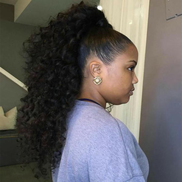 Afro Kinky Curly Puff Extensión de cola de caballo de cabello humano para las mujeres negras Cordón rizado Afroamericano pelo humano con clips dobles cadena