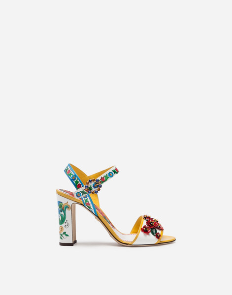 New Style Woman Summer Peep Toe Chunky Heel Painted Patent Leather High Heels Sandals Femal Mixed Color Rhinestone Round Buckle Sandals