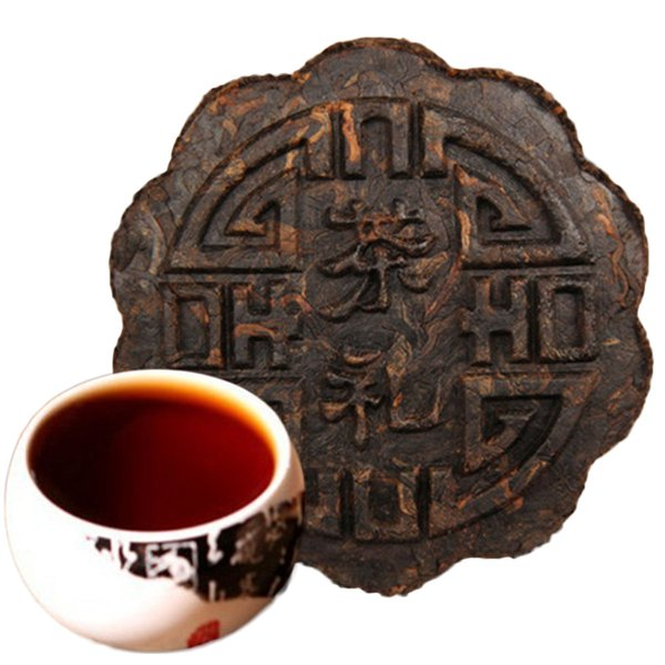 Promotion 100g Ripe Puer Tea Yunnan Good Flower Round Moon Mooncake Shape Puer Tea Organic Natural Pu'er Old Tree Cooked Puer Black Pu'er