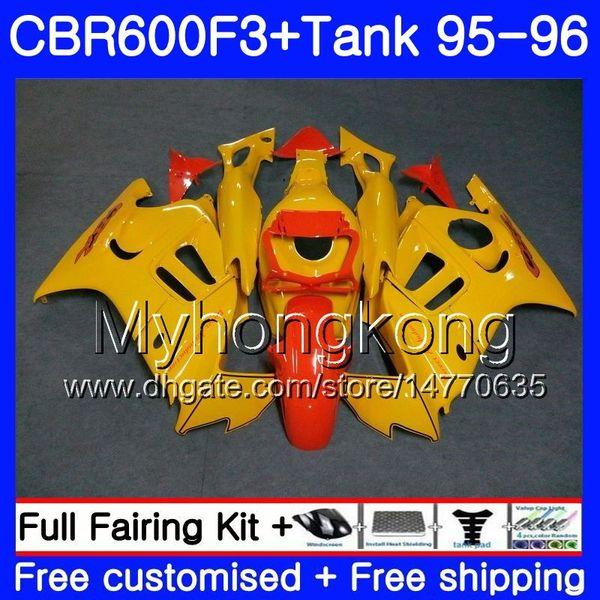 Bodys +Tank For HONDA CBR 600 F3 FS CBR600FS CBR600 F3 95 96 289HM.29 CBR600RR Light yellow frame CBR600F3 95 96 CBR 600F3 1995 1996 Fairing