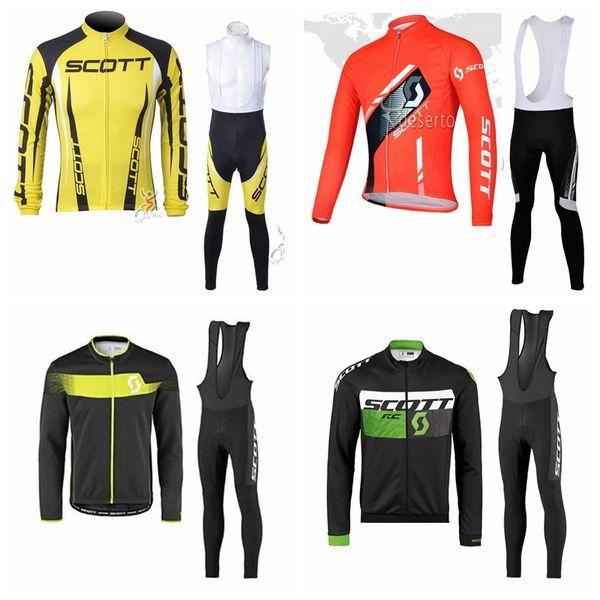 SCOTT equipe CyclingCycling mangas longas calças de jérsei define Hot Selling Ciclismo Tops mangas compridas Ciclismo Jerseys ciclo da bicicleta Ternos Roupas