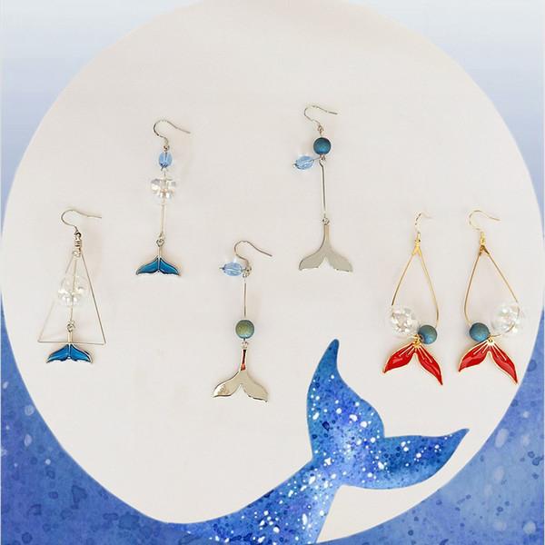 Kreative Fishtail Drop Ohrringe Mode Asymmetrie Lange Ohrringe Für Frauen Gold Überzogene Legierung Glasperlen Baumeln Schmuck Zubehör Großhandel