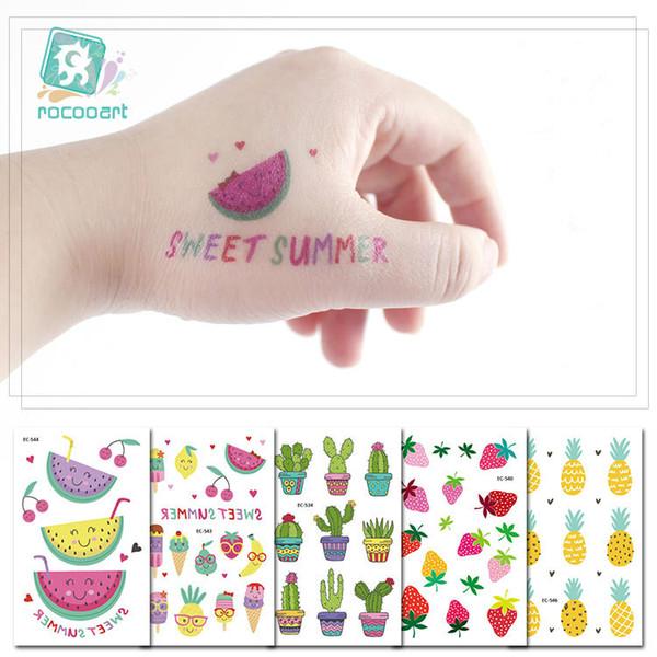 Cartoon Fruit Tattoo Sticker for Kids Children's Funny Tattoo Water Transfer Body Arm Face Art Cacti Mushroom Floral Party Birthday Decor