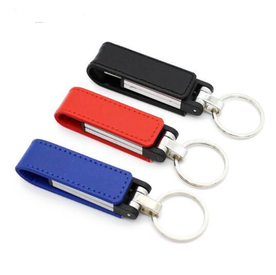 Movimentação do flash do USB do couro da porta-chaves do metal 32GB 64GB Pendrive do USB 2,0 movimentações da pena do disco do U 128GB
