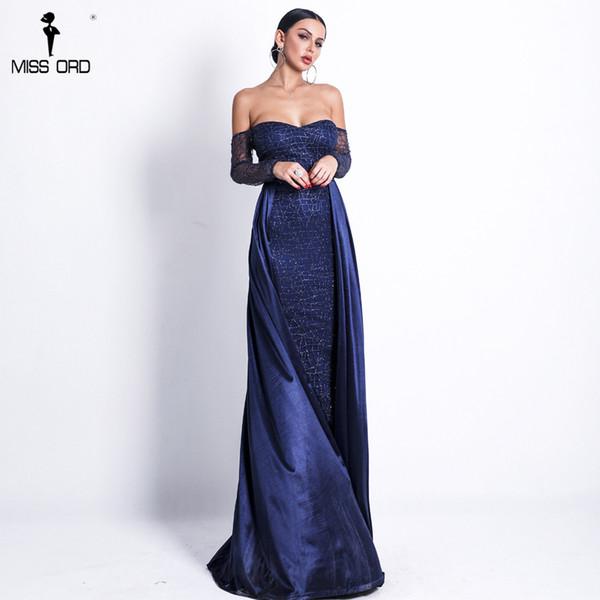 2725bc3e0f Missord 2019 mujeres sexy sin tirantes sin respaldo capa dos vestidos  femeninos de color sólido elegante brillo reflectante vestido ft18696  y190425