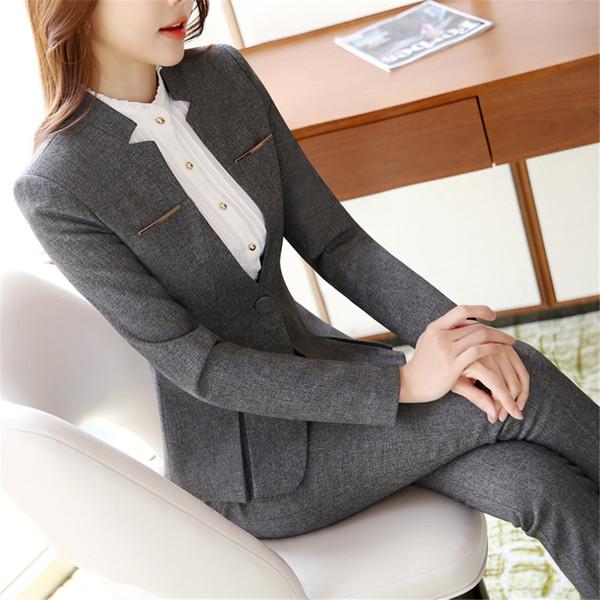 Damen Abendanzüge Workwear Büro Uniform Designs Frauen Büro Anzüge Blazer feminino Spa Uniform elegante Business Hose Anzüge