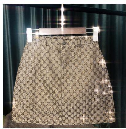 2019 nouveau design mode été femmes taille haute a-line logo lettre jakqaurd shinny bling strass patchwork jupe courte de luxe S M L XL