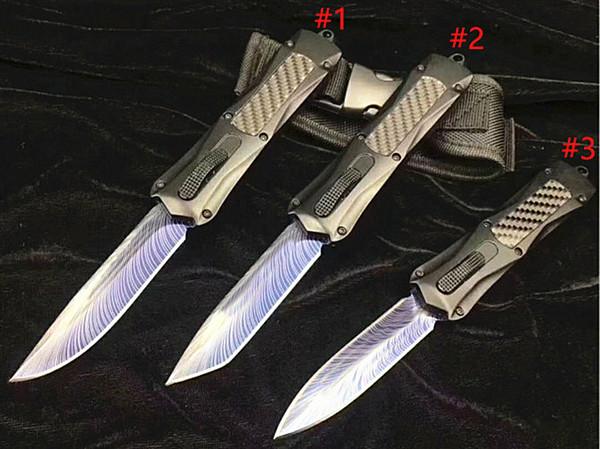 En Kaliteli A163 Oto Taktik bıçak 440C Lazer Desen Bıçak Avcılık Katlanır EDC Pocket Knife Survival Dişli En Iyi hediye