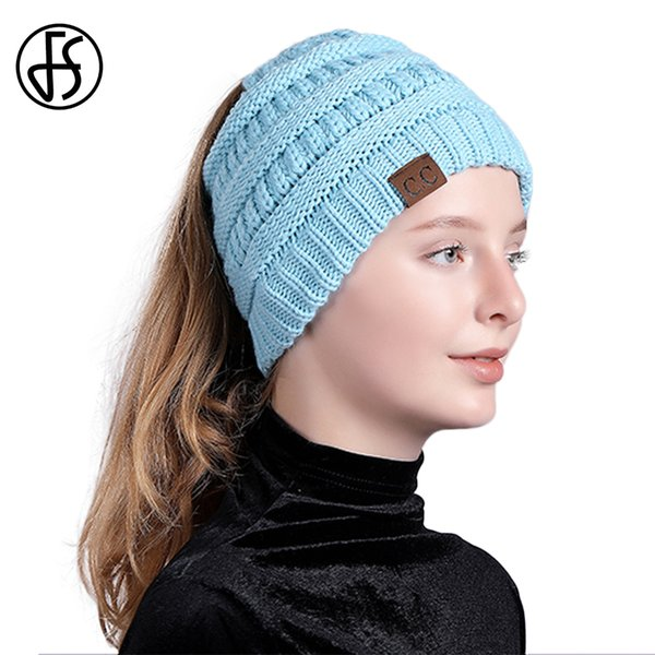 e42b8ba79 FS CC Beanie Cashmere Messy Bun Beanies Knitted Stylish Winter Hat For  Women Warm Hip Hop Ski Caps Female Ladies Fashion 2018 Ski Hats Newborn  Hats ...