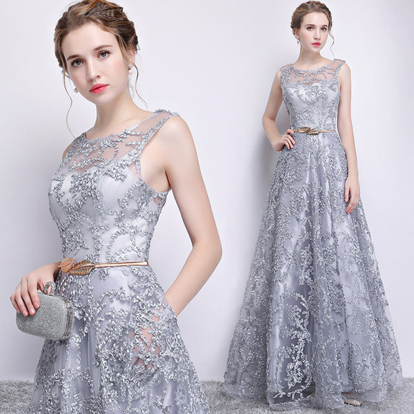 Silver Gray A line Evening Dresses Long 2019 New Arrival Reflective Sequined Prom Party Gowns A Line Spaghetti Straps Long Plus Size