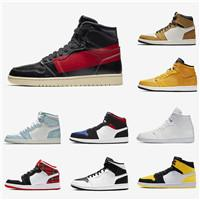 2019 bred gold toe men air jordan retro 1 basketball shoes 1s wmns pine green not for resale what the sports trainers sneakers, White;red