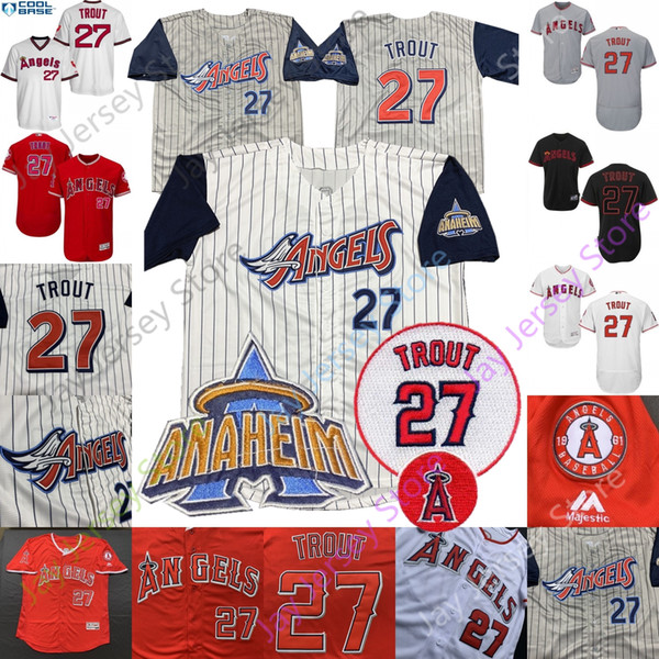 Mike Trout Jersey Los Angeles Anaheim Angels Home Aaway Men Women Youth Pullover Button All Stitched Red White Grey Pinstripe