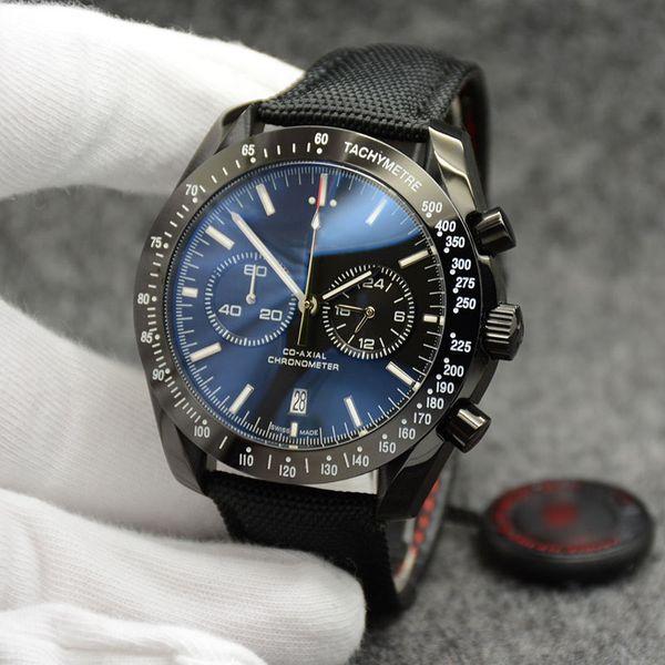 44MM Fecha cronógrafo de cuarzo Relojes para hombre Banda de nylon negro Bisel fijo con un anillo superior que muestra marcas de taquímetro