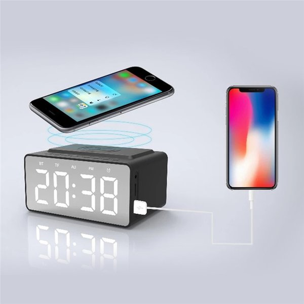 High Quality Smart Home Home Automation Mirror Clock Wireless Charging Bluetooth Stereo Three-in-one
