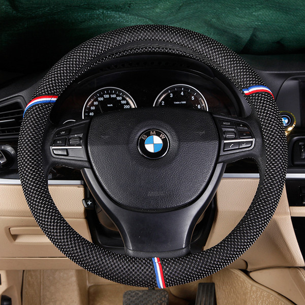 2019Genuine Leather Hand-stitched Car Steering Wheel Cover Car Interior styling decoration accessories steering wheel cover stitch