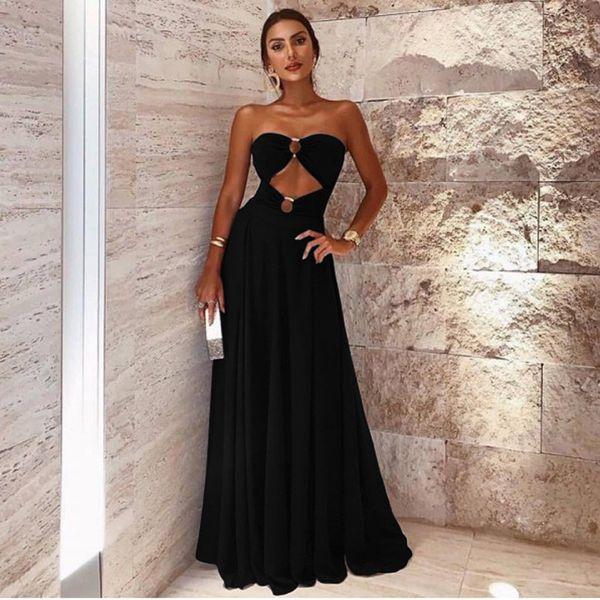Lo nuevo 2019 Little Black Evening Dress Formal A Line Sweethart Hollow Long Mujer Ocasión Vestidos Fiesta de baile Desgaste LLF2107
