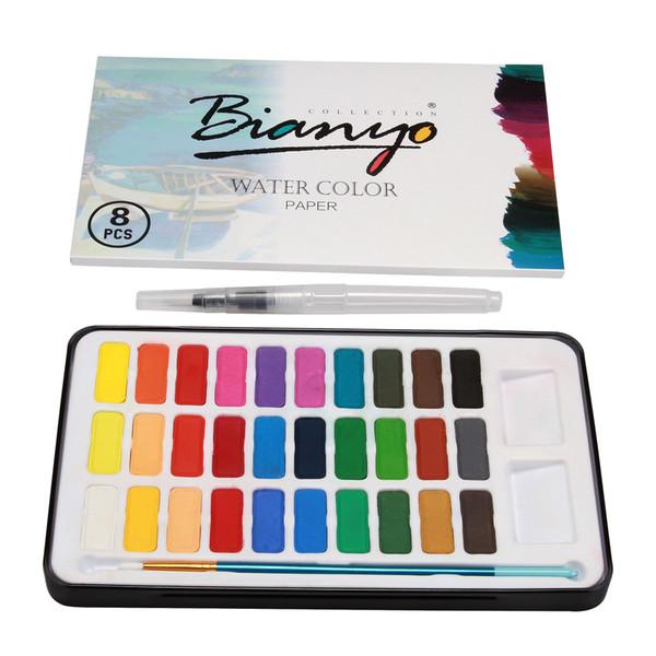 30 Watercolour Paint Set & Brush/Paper In Case Painting Water Colour Art Artist