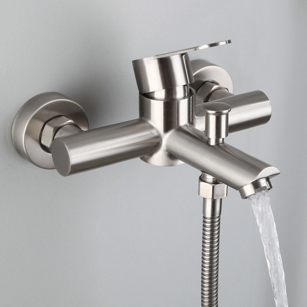 Outdoor Shower Fixtures Stainless Steel.2019 High Bathroom Shower Sus 304 Stainless Steel Bathtub Faucet Wall Mounted Outdoor Shower Fixtures One Button Two Control System From Minhua21631