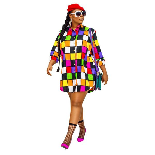 New Women Designer Dresses Colorful Grid Print Long Sleeve Shirts Dresses Lady Loose Sunscreen Causal Clothing