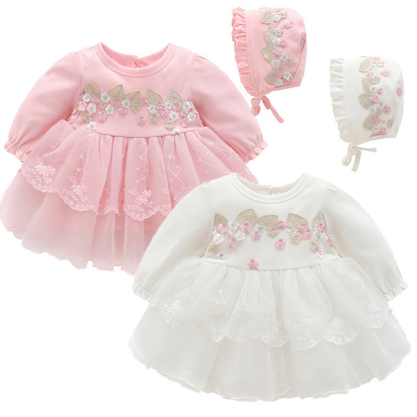 Infant Baby Clothes Lace Embroidery Newborn Baptism Dress For Baby Girls Party Christening Dresses With Hat 0-12m Pink White Y19050801