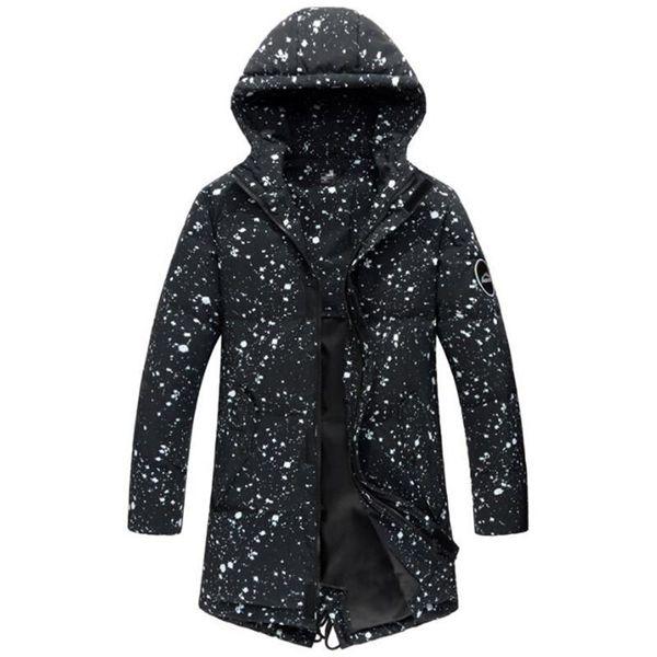 engrais section mâle ajouter a augmenté dans l'hiver 2018 hommes grands toile long manteau épais Maxi impression veste en coton à capuchon