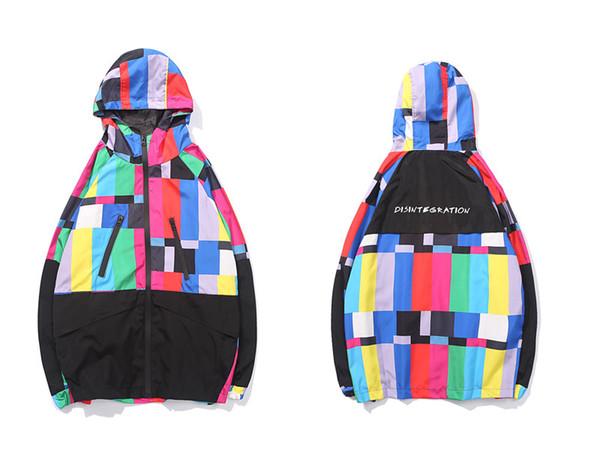 Multi Color Block Patchwork Hooded Zip Up Jackets Men Casual Windbreaker Jacket Coats Male 2019 Hip Hop Streetwear