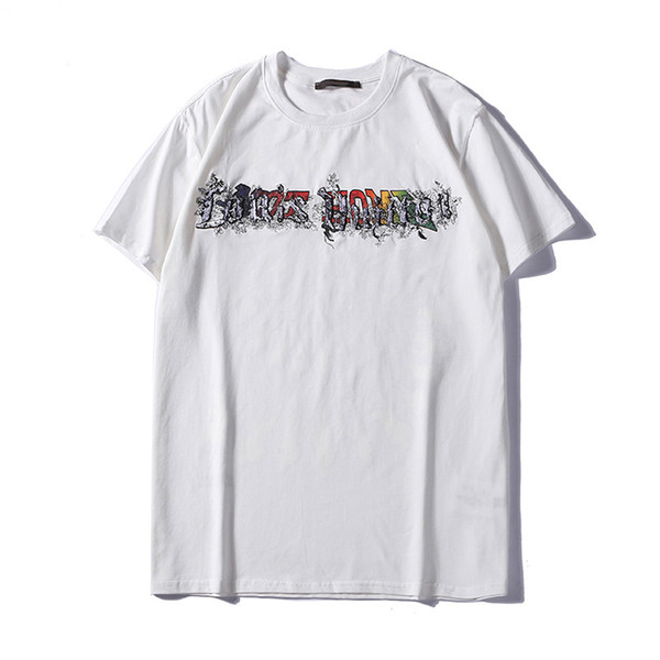 Men's Designer T-Shirt Fashion Men's 2019 Summer Casual Street Letter Print T-Shirt Cotton Blend Round Neck Short Sleeve