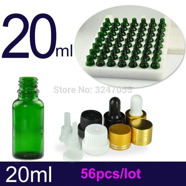 20ML 56pcs Cosmetic vuoto verde reagente Pipetta Bottiglia, professionista Olio Essenziale ricaricabile pacchetto, contagocce Fragrance Bottle