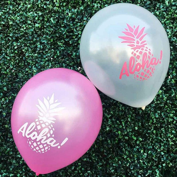 10 Pcs / Lot Ananas Aloha Lettres Latex Balloon Summer Party Décoration Aloha Party Supplies Balloon Décoration Tropicale