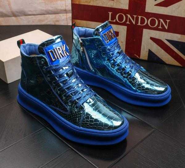 NOUVEAU TOP Hommes chaussures plate-forme en microfibre haut-top empreintes de mode pour chaud hommes chaussures noir PU bottes chaussures pour hommes vulcanisé B64
