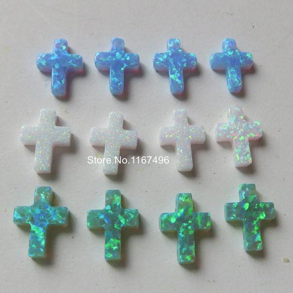5pcs / lot OP06 / OP11 / OP17 Croix Opale Pierre 9x12mm Croix Opale De Feu Percé Synthétique Croix Opale pour Collier