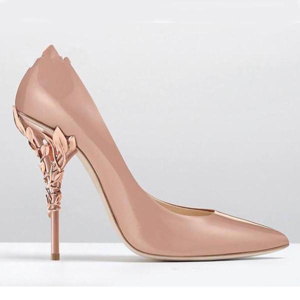Damen Designerschuhe Solid Eden Heel Pump Super sexy Damenhochzeitsschuhe 2019 Aufwändige Filigrane Blatt Spitzschuh Haute Couture Schuhe