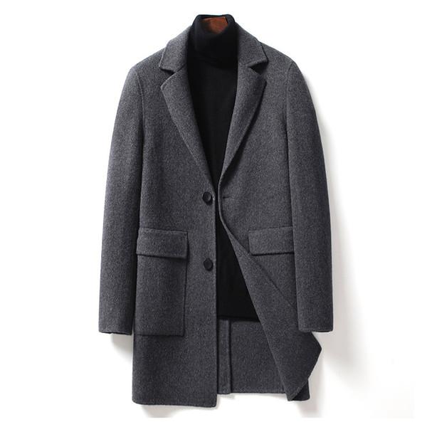 PAULKONTE Hot Verkauf Umlegekragen Herren Mantel Europa und Amerika Mode Fest Farbe Wilde bequeme warme Lange Herren Jacke