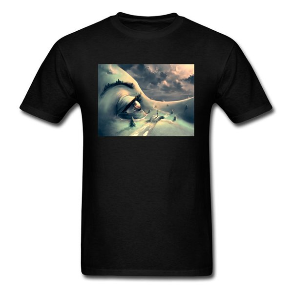 After The Rain Art Painting Men Funky Black T-shirt Personality Eye Print Male Short Sleeve Tops & Tees Unique Gift T Shirt