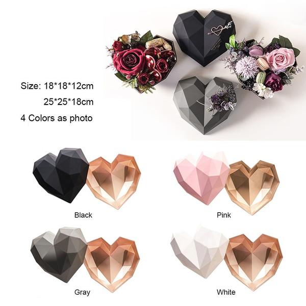 2019 New Design Coating Bronzing Romantic Diamond Heart Box Bouquets Flowers Box Valentine's Day Gift Box Baby Keepsake Tins 2PCS/SET