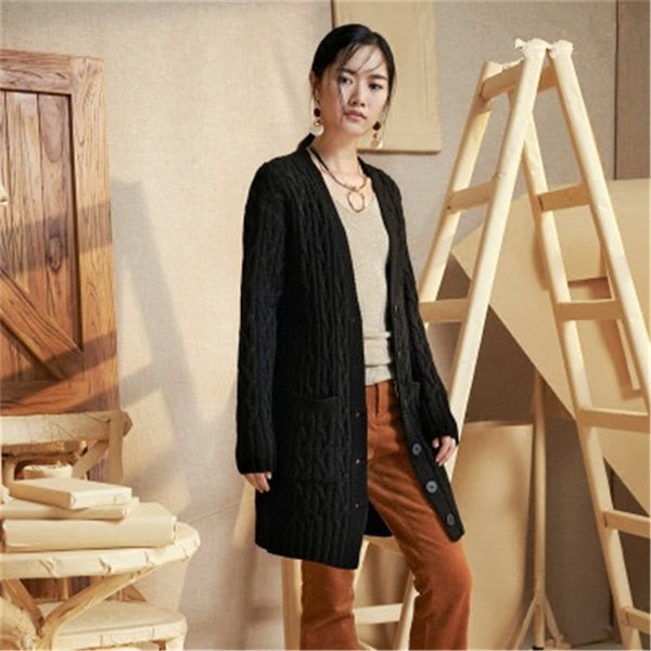 100%hand made pure wool vneck knit women loose h-straight long cardigan sweater one&over size