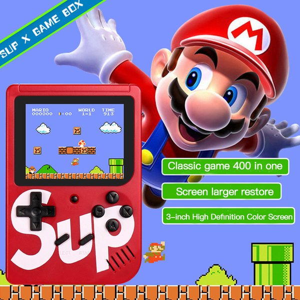 Mini El Oyun Gamepad Çift Oyuncu Renkli LCD Ekran Dahili 400 Oyunları Kid Video TV'de El Oyun Oyuncu