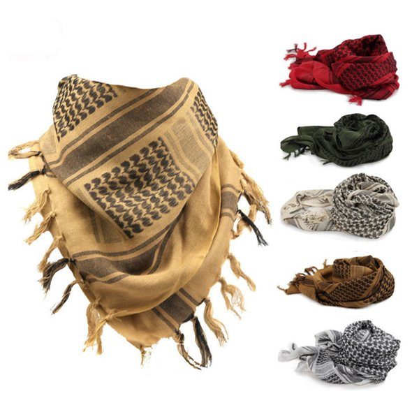100% Cotton Muslim Arabic Style Scarves Tactical Desert Shawl Windy Windproof Scarf High Quality Neck Cover Head Wrap