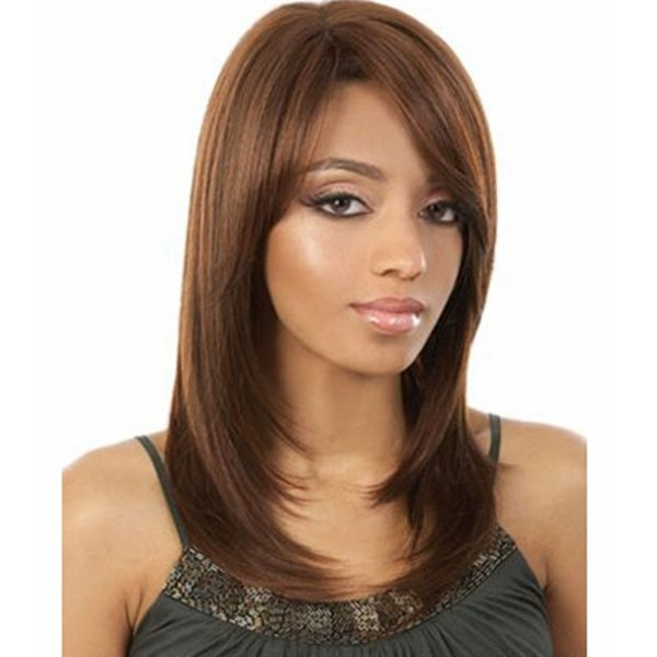 16 inches Cosplay Wig for Women with Bangs Straight Fashion Women Synthetic Wavy Wig Curly Bob Fashion Medium-length daily style wig