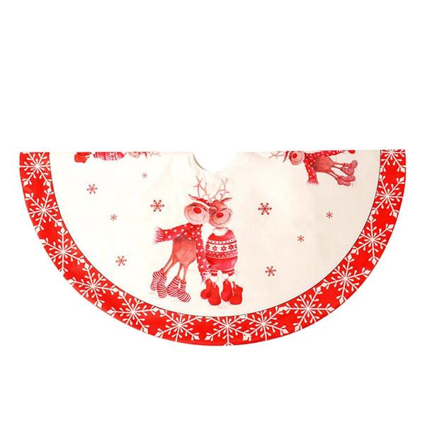 Evento Festa de Natal da árvore saia Duplo cervos impressão Inferior Saia de árvore 120cm de Natal Decoração de Ano Novo Início Outdoor Decor