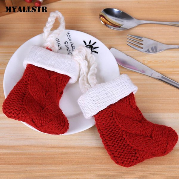 Knife Fork Sock Bag Decorations Cover Dining Table Christmas Hotel Home Solid Patchwork Red Room