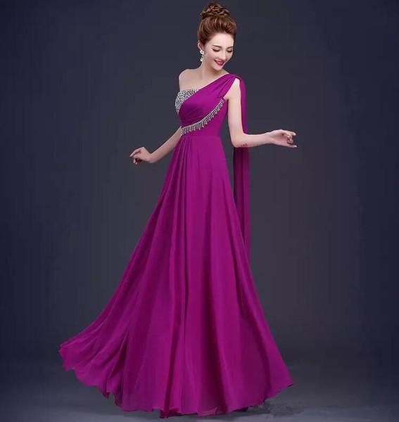 Reale Abbildungen 2019 Schulter Brautjungfernkleider mit Flattern Perlen Lang Chiffon Prom Kleider für die Braut