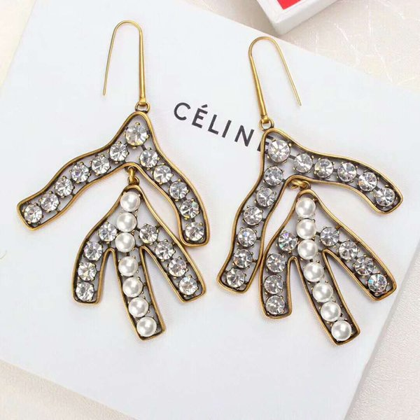 Fashion classic large earrings drop earring for women jewelry Brand earrings with pearl and diamond for gift