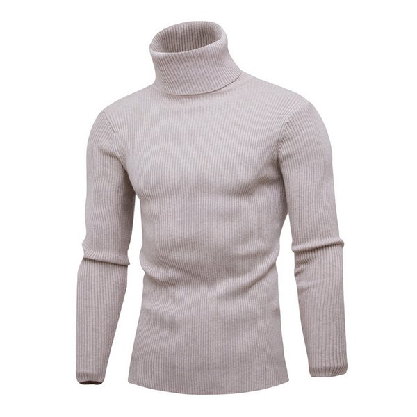 Spring Turtleneck Sweater For Men Fashion Solid Knitted Mens Sweaters 2018 Hot Sale Casual Male Double Collar Slim Fit Pullover