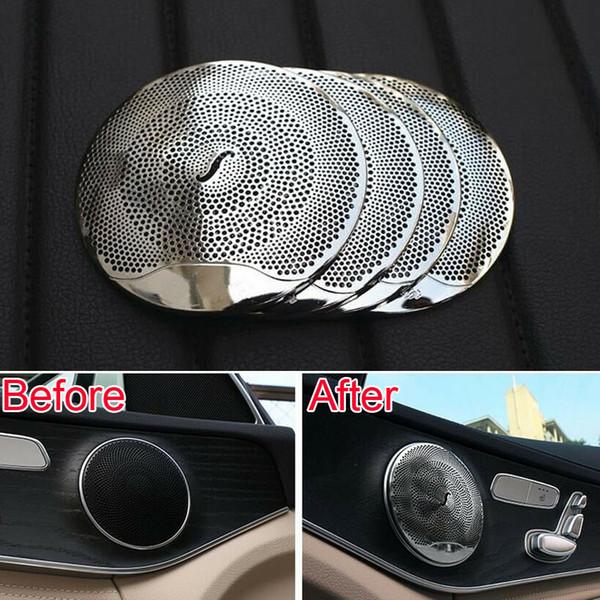 4pcs car styling car audio speaker door loudspeaker trim sticker cover for Mercedes Benz GLC 2016 E class benz W213 C class W205