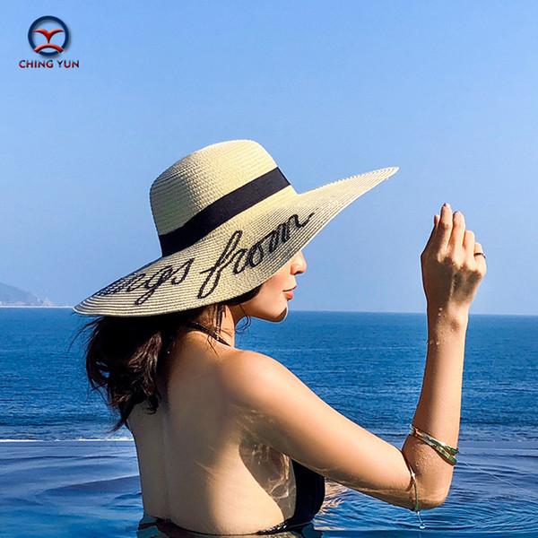 CHING YUN Women Summer hat sun hat Lafite straw cap brim fashion style beach foldable Seaside travel feminine leisure