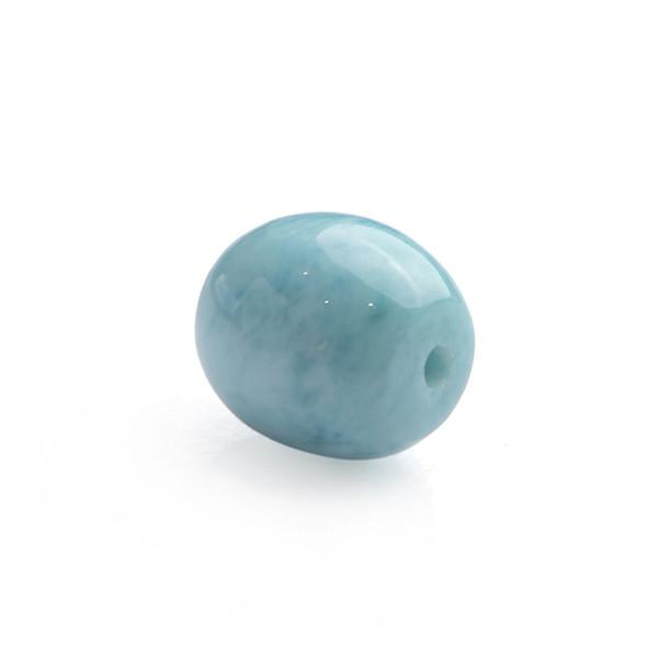 Natural Blue Larimar Gems Crystal Barrel Shape Round Beads Charm Pendant Necklace For Women Female
