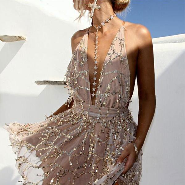 2018 Party Dresses Sexy Dresses Women Backless Halter Black Gold Mini Dress Party Tassel Summer Dress Women Club Wear White T4190601