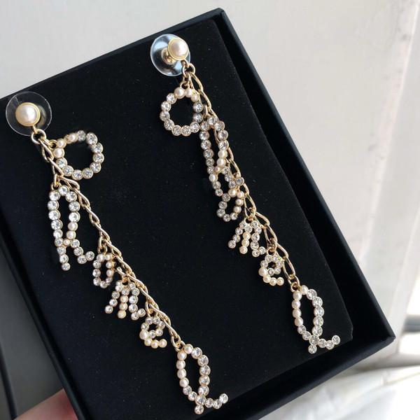 marque de mode timbres ont R boucles d'oreilles de créateurs Lettre pour dame design femmes fête de fiançailles de mariage de luxe bijoux pour la mariée ETUI