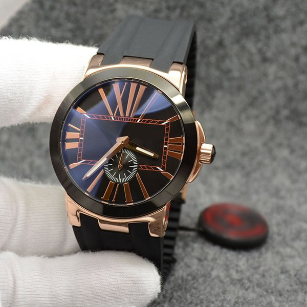outstanding executive dual time men watch marine ceramic bezel black dial un-24 quartz battery rubber strap wristwatches mens watches, Slivery;brown